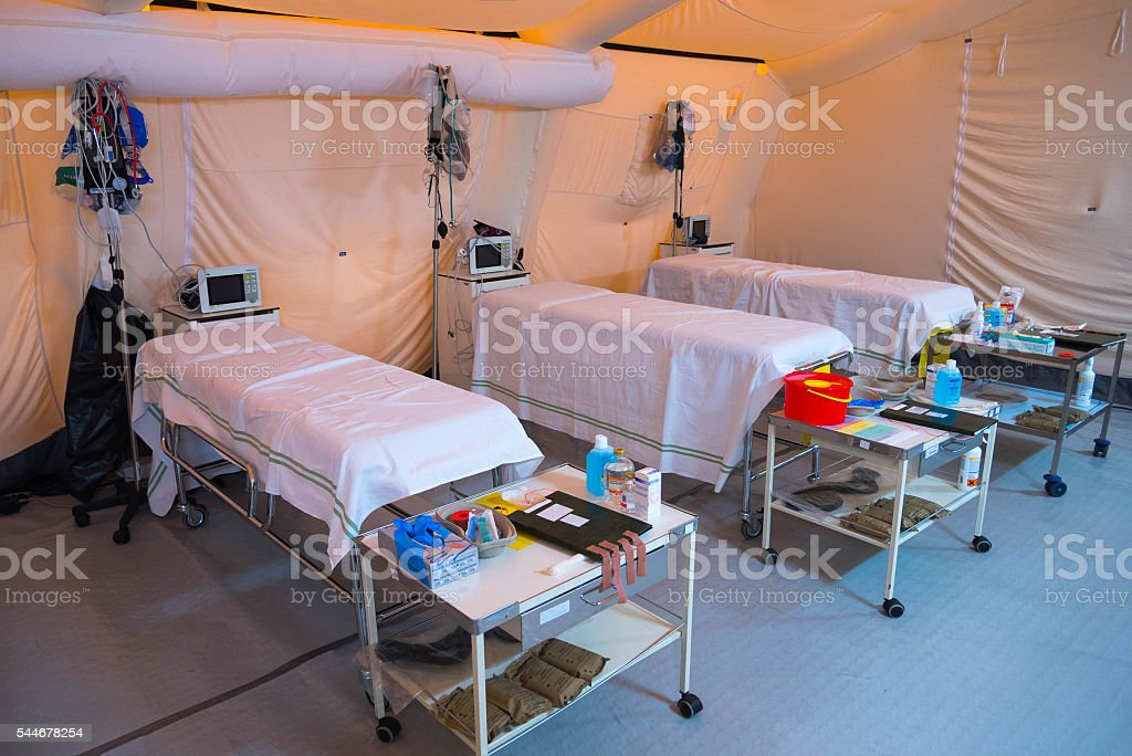 Inside field hospital tent stock photo
