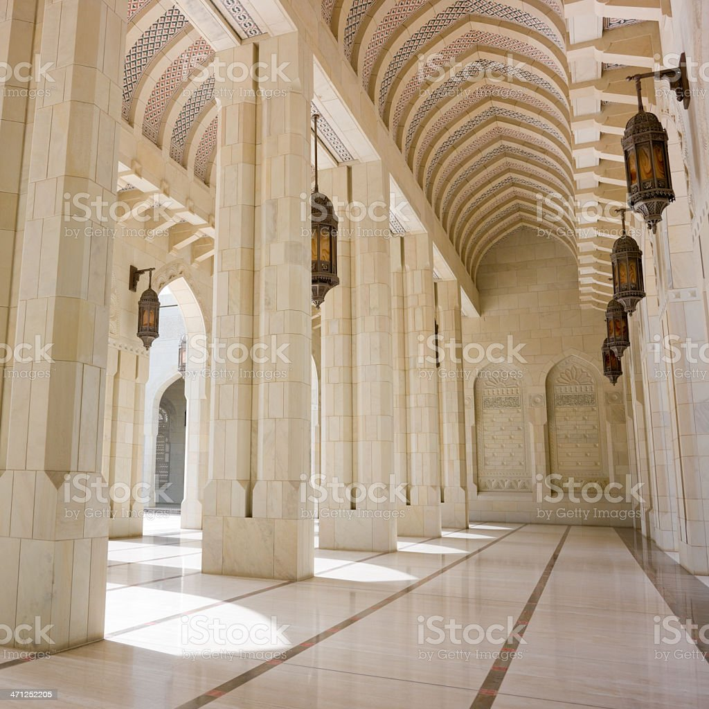 Inside Grand Mosque Sultan Qaboos Archway royalty-free stock photo