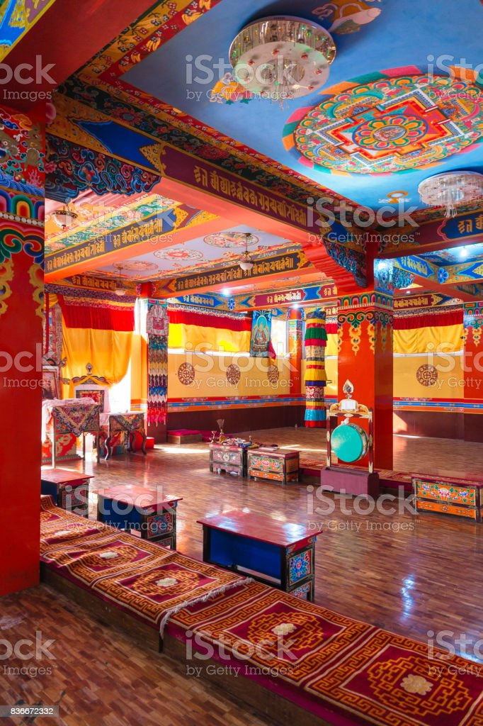 Inside Guru Rinpoche Temple with colorful interior decoration in Guru Rinpoche Temple at Namchi. Sikkim, India. stock photo