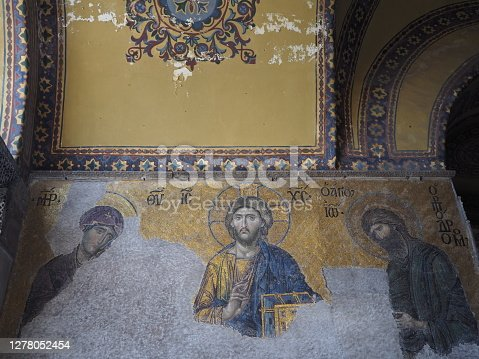 In May 2019, tourists could visit the interior of Hagia Sophia when it was still a basilica and before it came back as a mosque, in Istanbul, in Turkey.