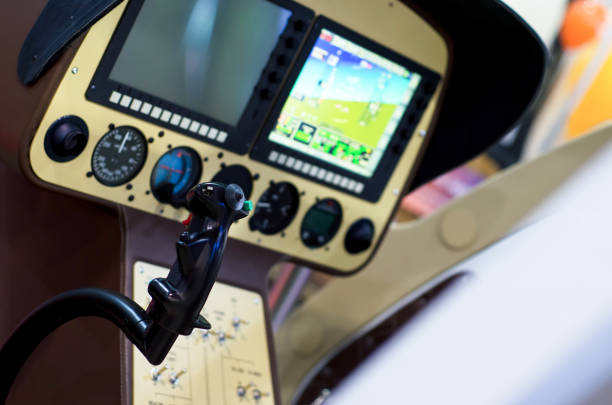 Inside helicopter cabin. stock photo
