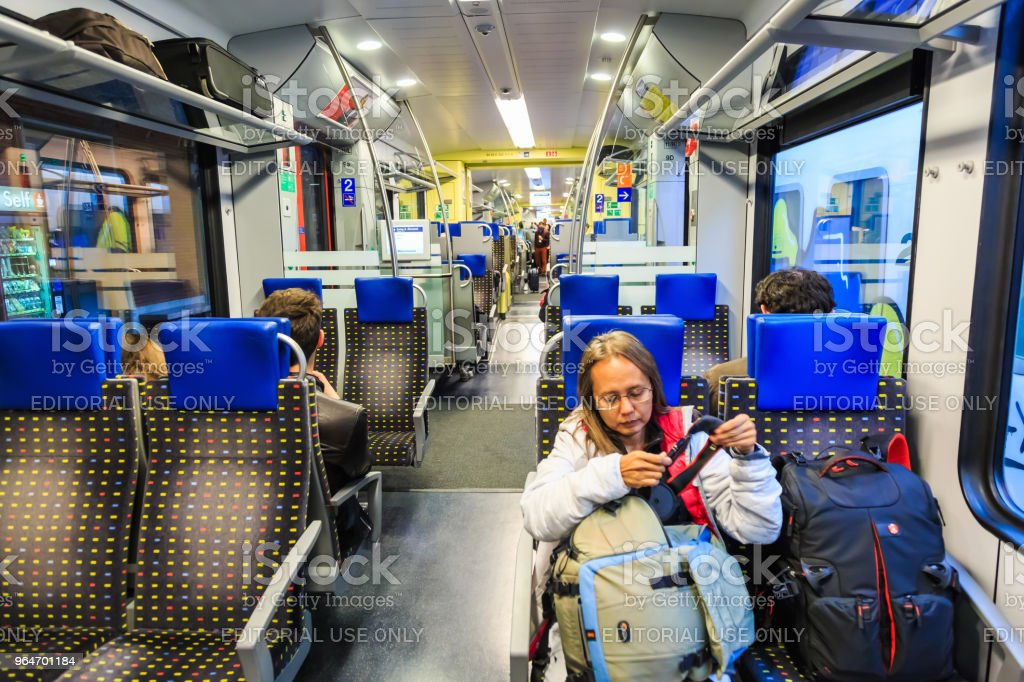Inside Italian regional train royalty-free stock photo