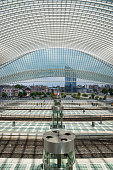 Inside Liege guillemins railway station looking towards center