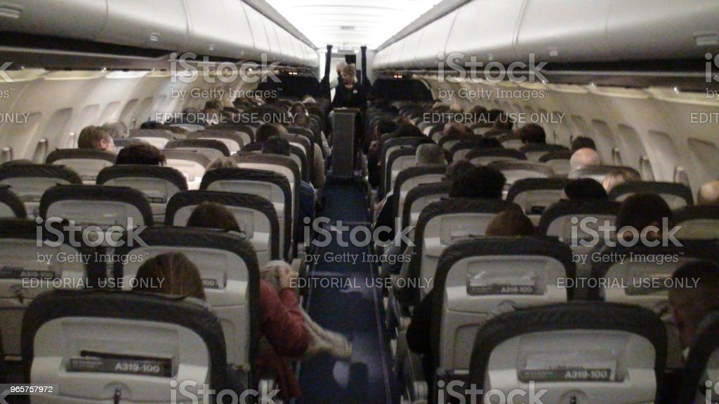 Inside Lufthansa Airline Airplane And People View In The Netherlands. Europe - Royalty-free Adult Stock Photo