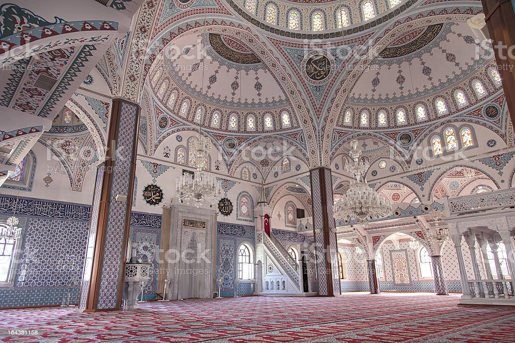 Inside Manavgat mosque, Turkey royalty-free stock photo