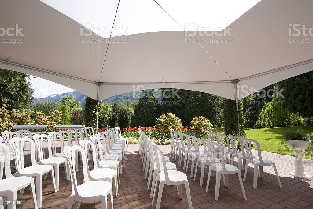 Inside marquee - looking to side stock photo
