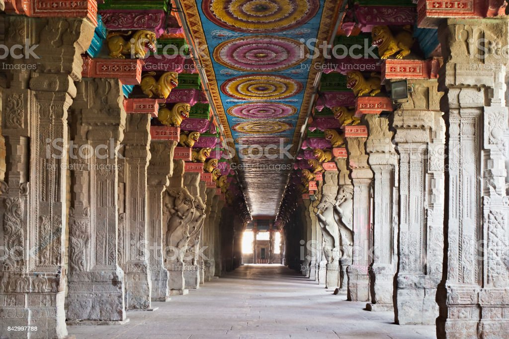 Inside Meenakshi temple stock photo