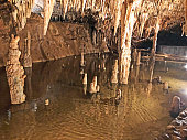 Stalactites and stalagmites inside Meramec Caverns in Missouri, USA with copy space.