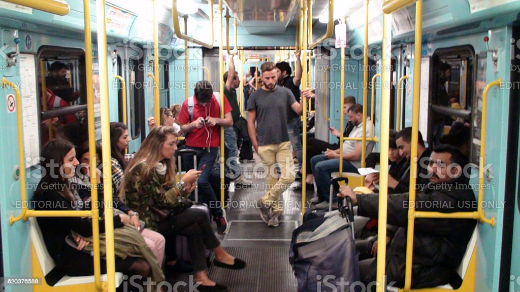 Inside Metro In Milan Italy Europe Including People Sitting,Standing foto de stock royalty-free