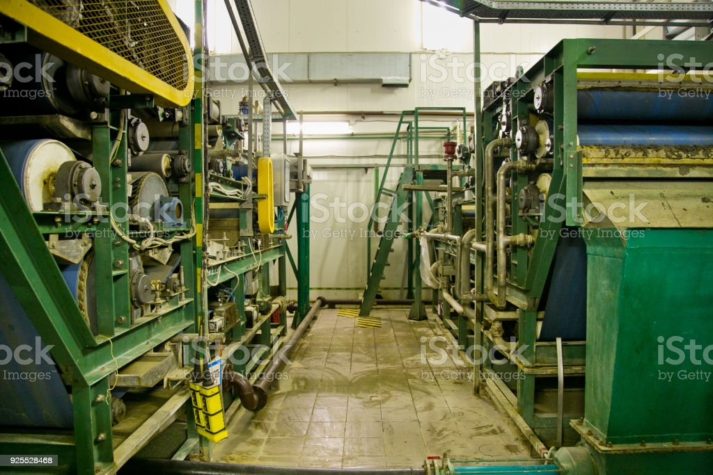 Inside modern wastewater treatment plant. The post-treatment is carried out on fast, non-pressure sand filters stock photo