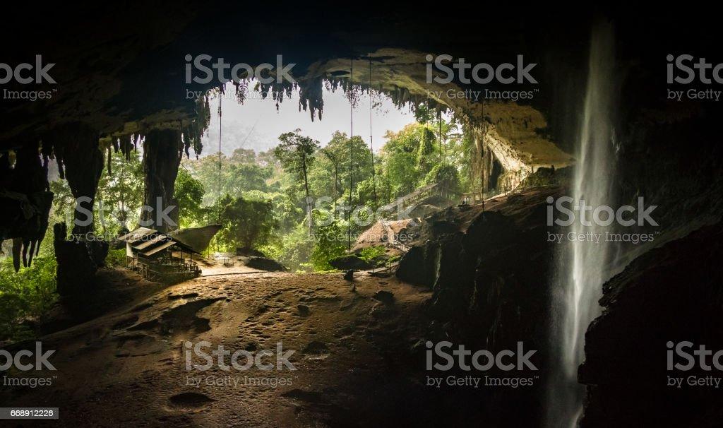 Inside Niah Great Cave, looking out, in Niah National Park, Borneo, Sarawak, Malaysia stock photo