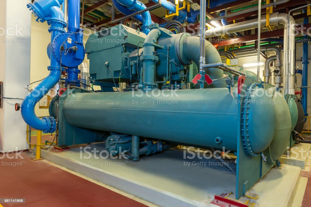 Inside of a boiler room system stock photo