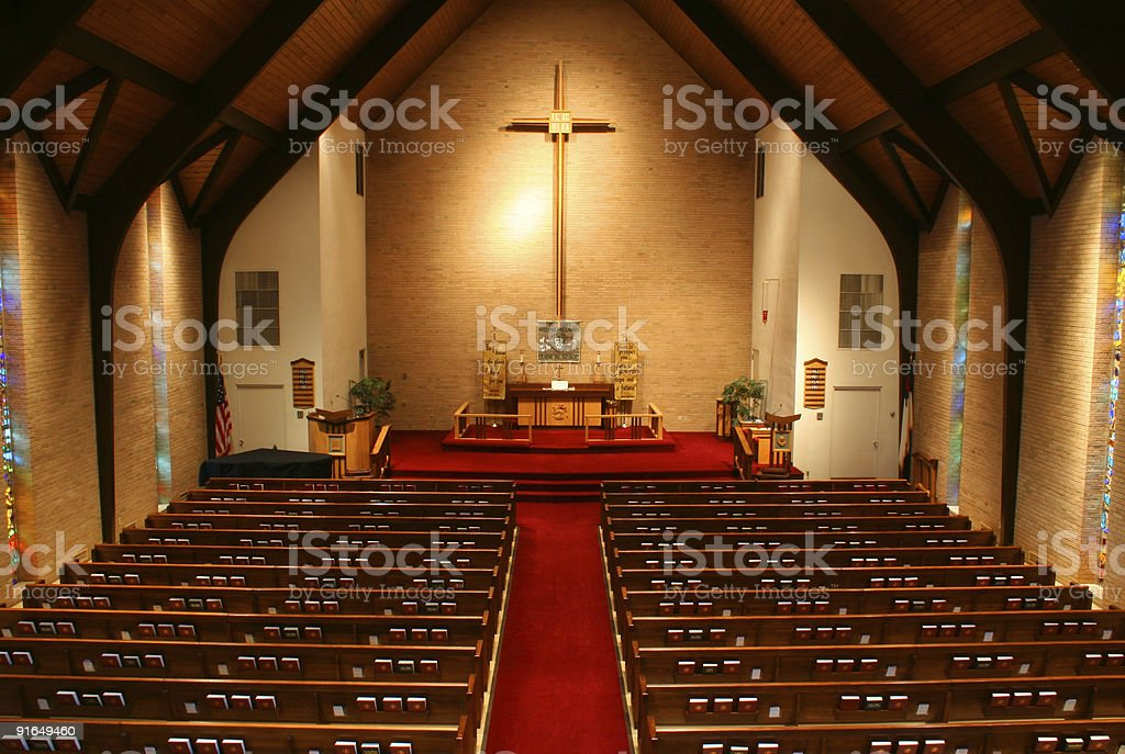 Inside of a church, from balcony stock photo