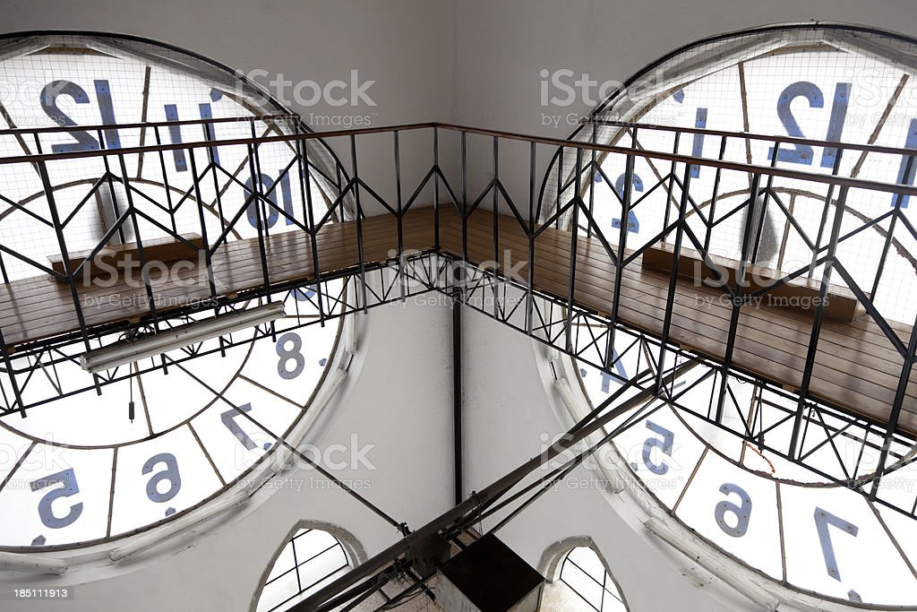 Inside of a Clock Tower stock photo