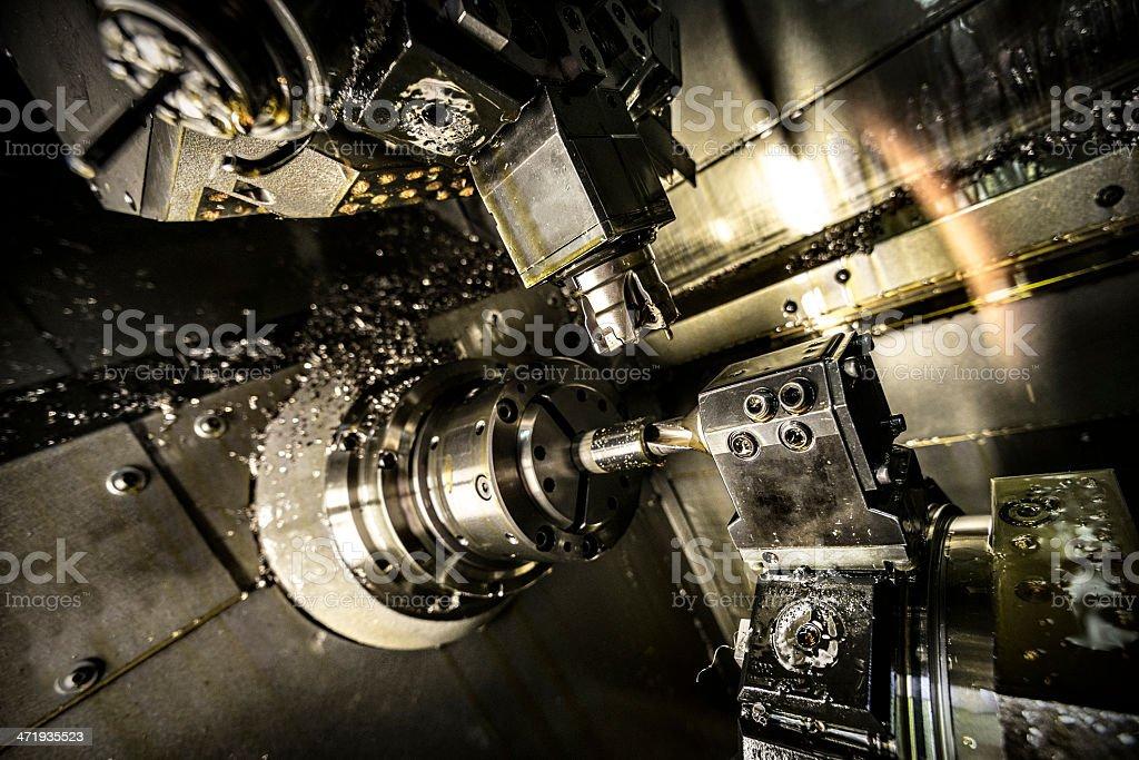 Inside of a CNC lathe machine stock photo