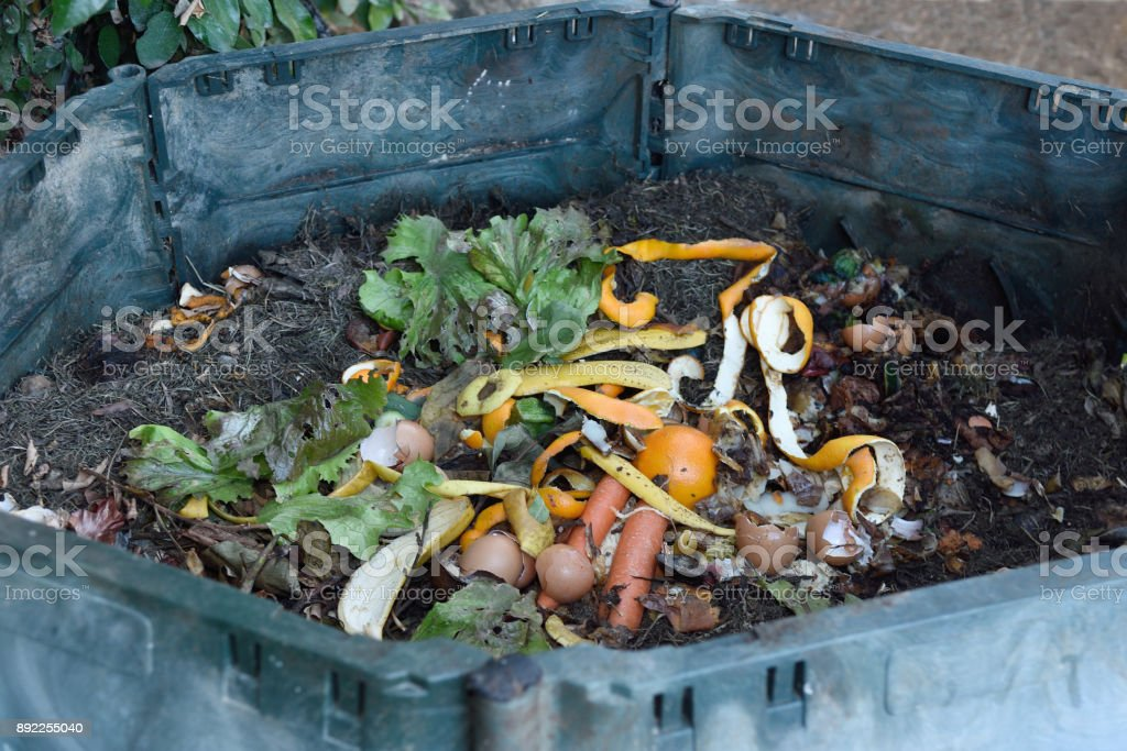 inside of a composting container stock photo