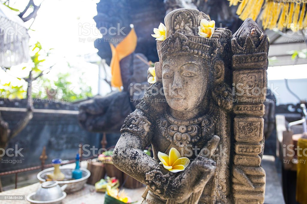 Inside of a Hindu Temple in Bali, Indonesia. stock photo