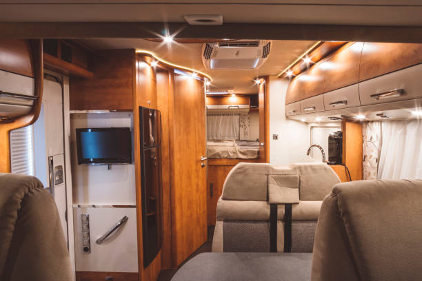 Inside of a modern caravan Inside of a modern caravan rv interior stock pictures, royalty-free photos & images