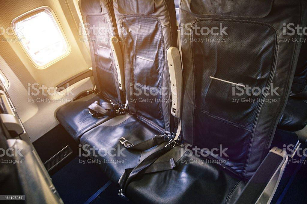 Inside of a passenger aircraft before the flight.