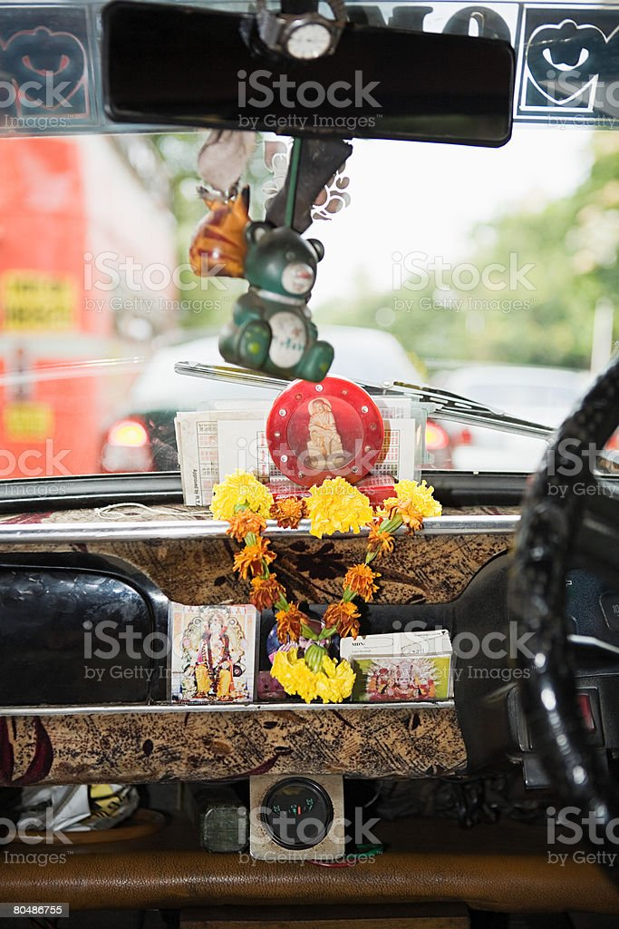 Inside of a taxi 免版稅 stock photo