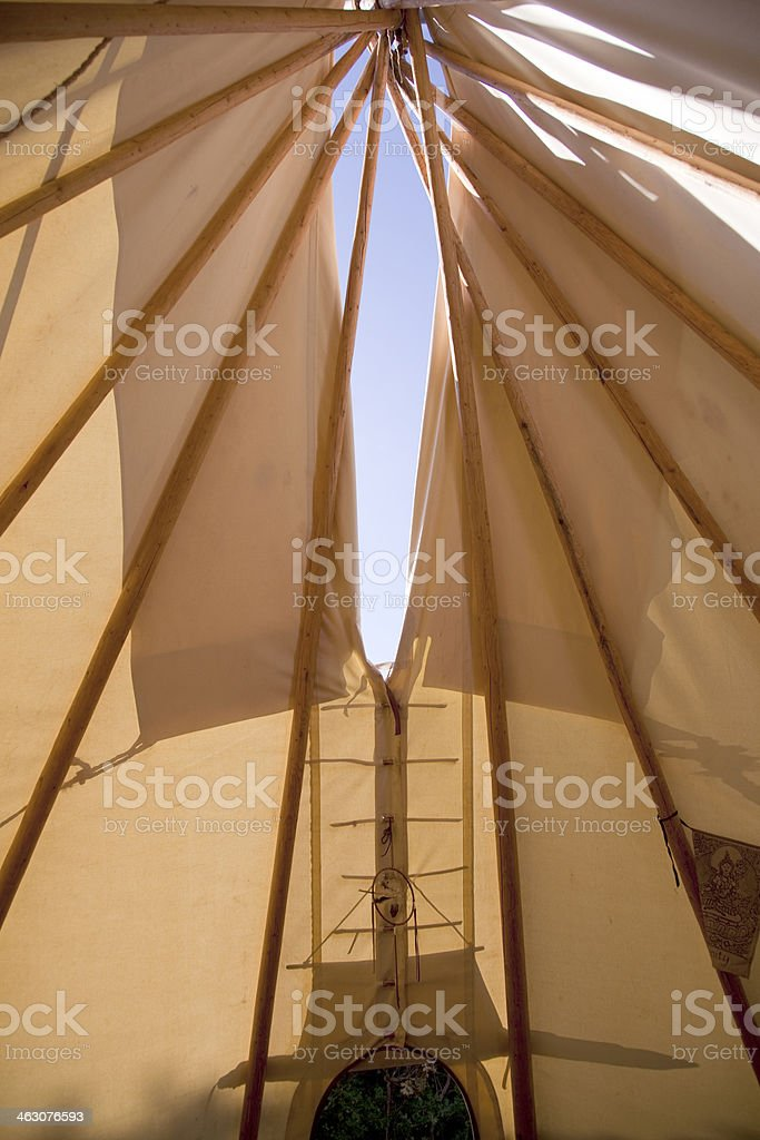 Inside of a traditional tipi stock photo