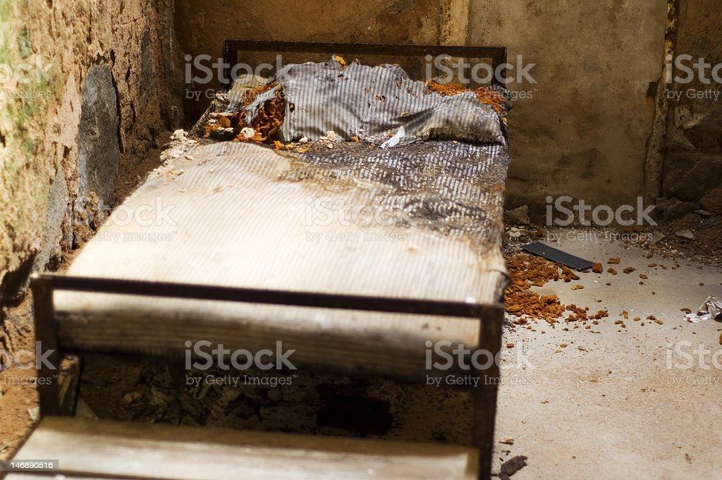 inside of abandoned prison cell royalty-free stock photo