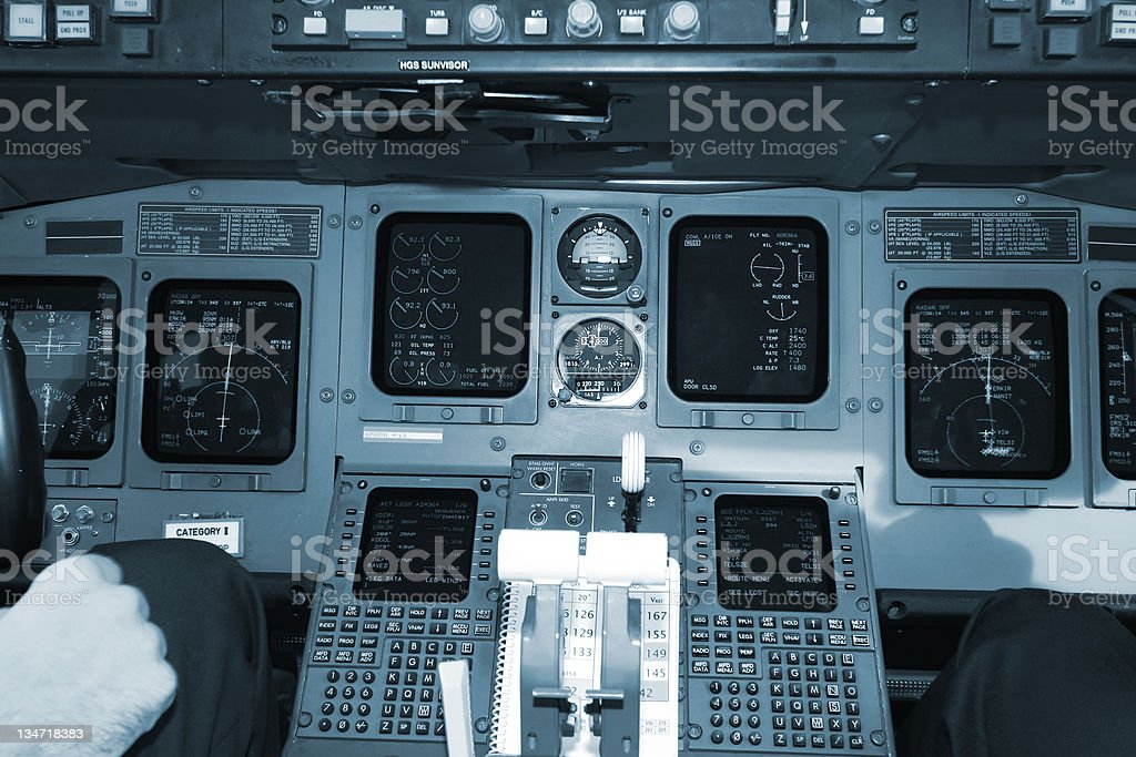 Inside of airplane...cockpit royalty-free stock photo