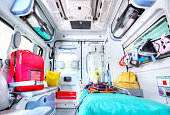 Photo of an ambulance seen from the sanitary space.