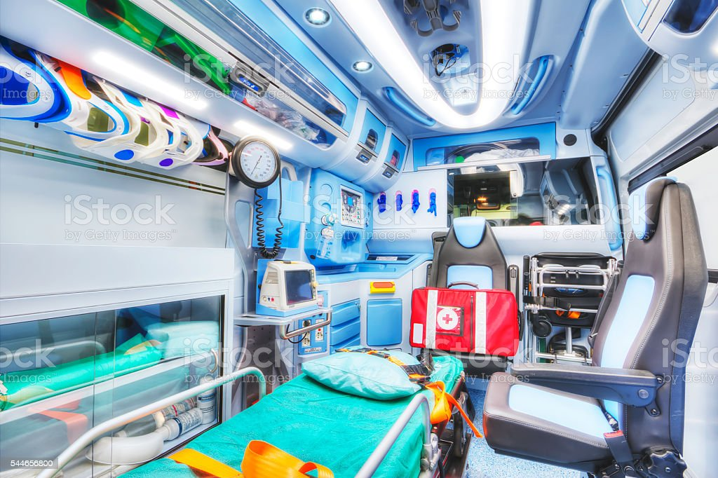 Inside of an ambulance. High key. stock photo