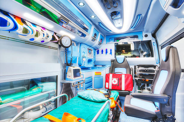 inside of an ambulance. high key. - ambulance stock photos and pictures