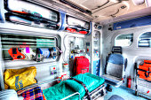 Photo in HDR of an ambulance seen from the sanitary space