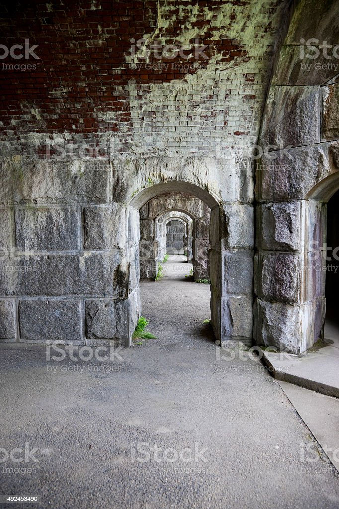 Inside of an old fort stock photo