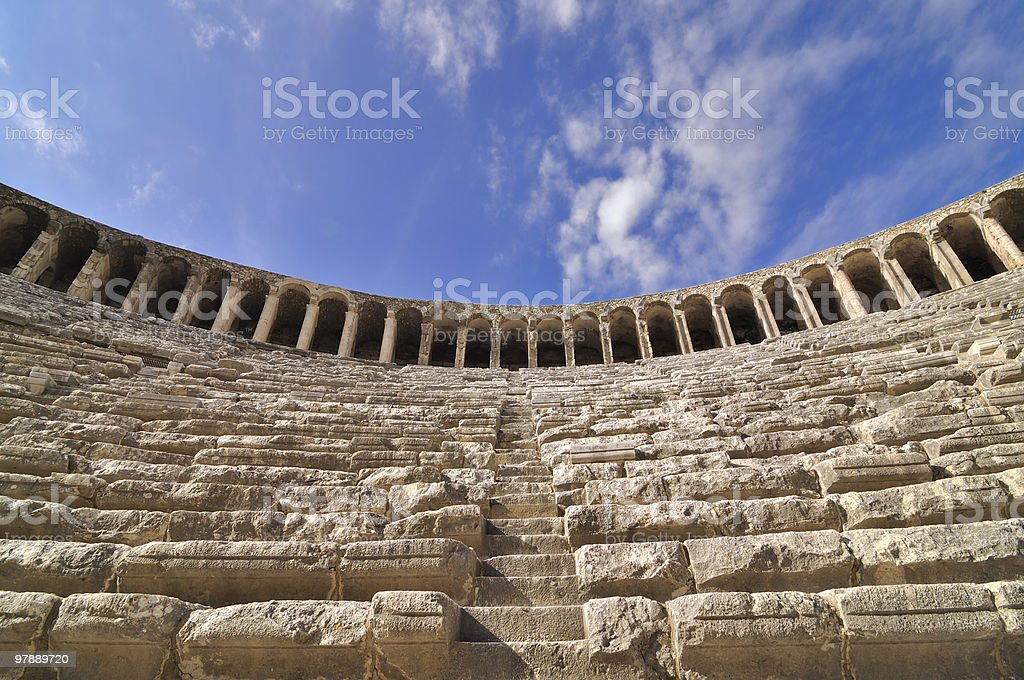 Inside of Aspendos Theatre royalty-free stock photo