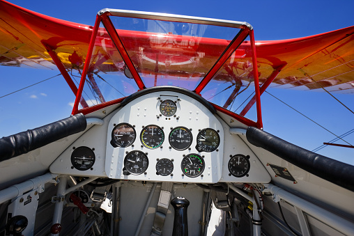 inside of biplane from pilot point of view