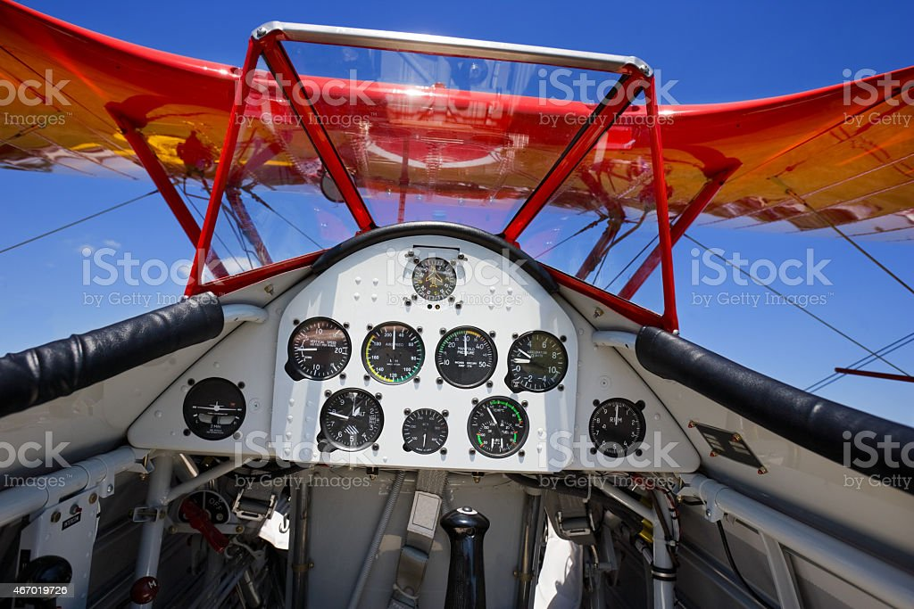 inside of biplane from pilot point of view stock photo