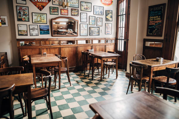 Inside of city cafe in Buenos Aires stock photo