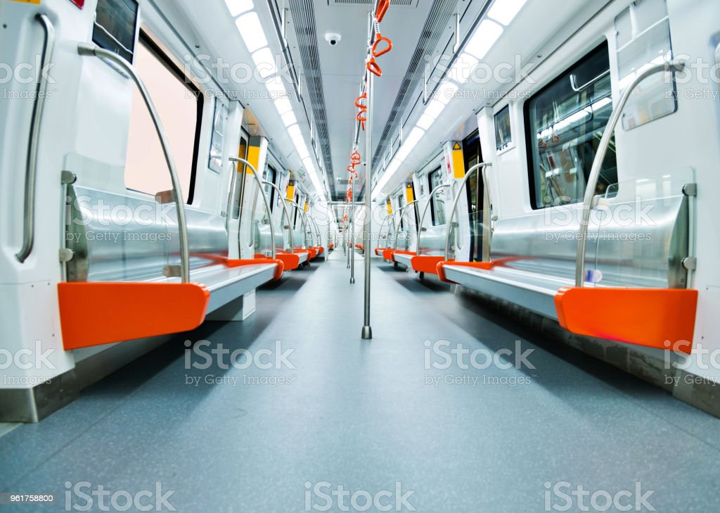 Inside of clean subway train