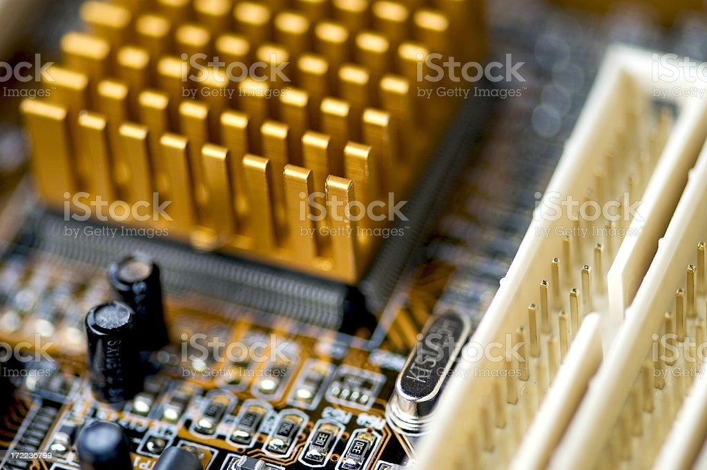 Inside of computer power board with capacitors stock photo
