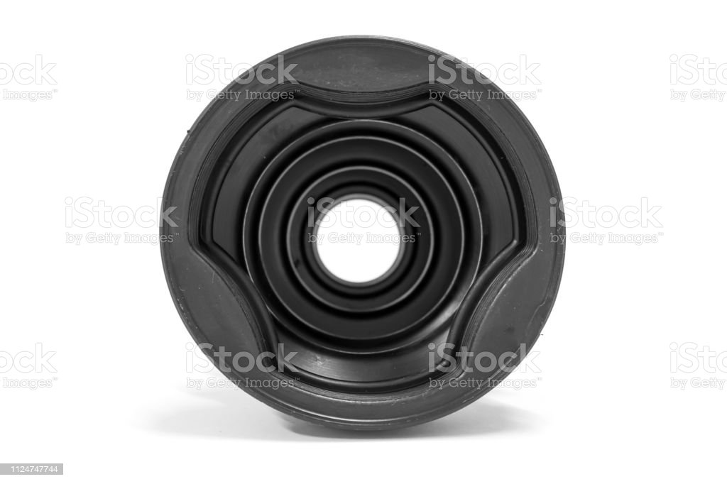 Inside of drive shaft boot on white background, Car Spare part.