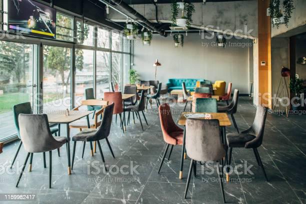 Inside of empty modern cafe picture id1159982417?b=1&k=6&m=1159982417&s=612x612&h=idjzf2oaakkwphsv 6plwomujeft zpq 7gletyu28s=