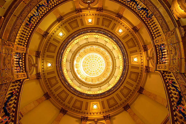 inside of gold dome - colorado state capitol stock photos and pictures