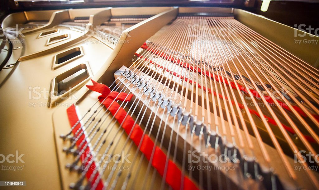 Inside of Grand Piano stock photo