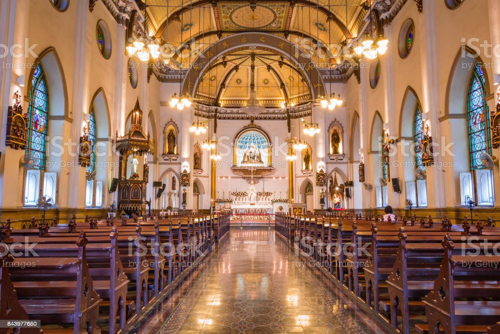 Inside of Holy Rosary Church, Bangkok, Thailand. stock photo