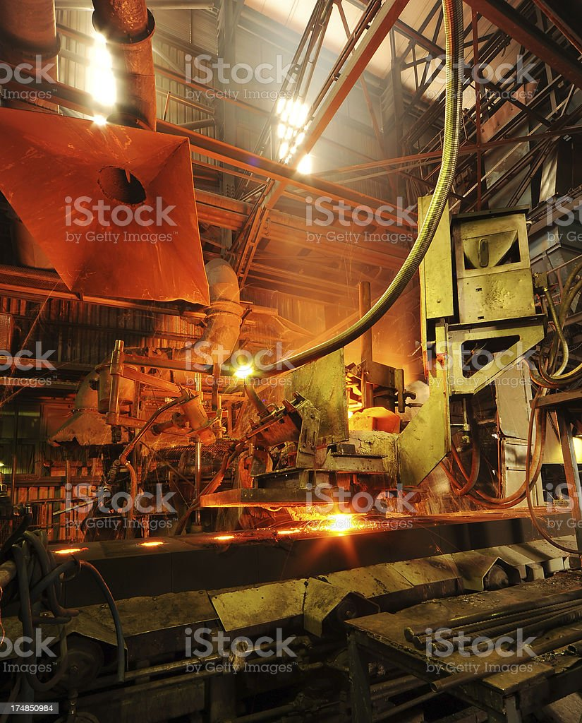 Inside  of iron factory stock photo