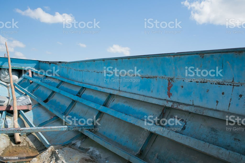 Inside of iron transportation boat ,right part. foto stock royalty-free