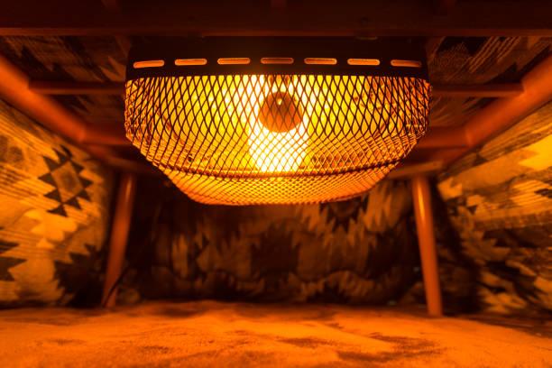 inside of japanese kotatsu table heater stock photo