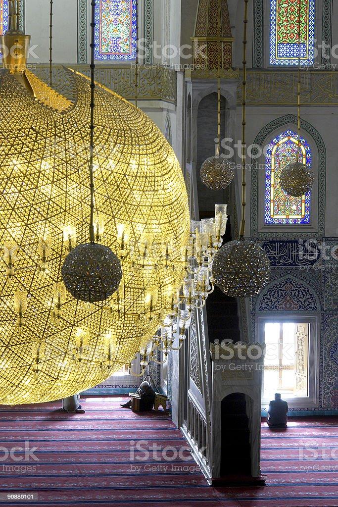 Inside of Kocatepe Mosque in Ankara Turkey royalty-free stock photo