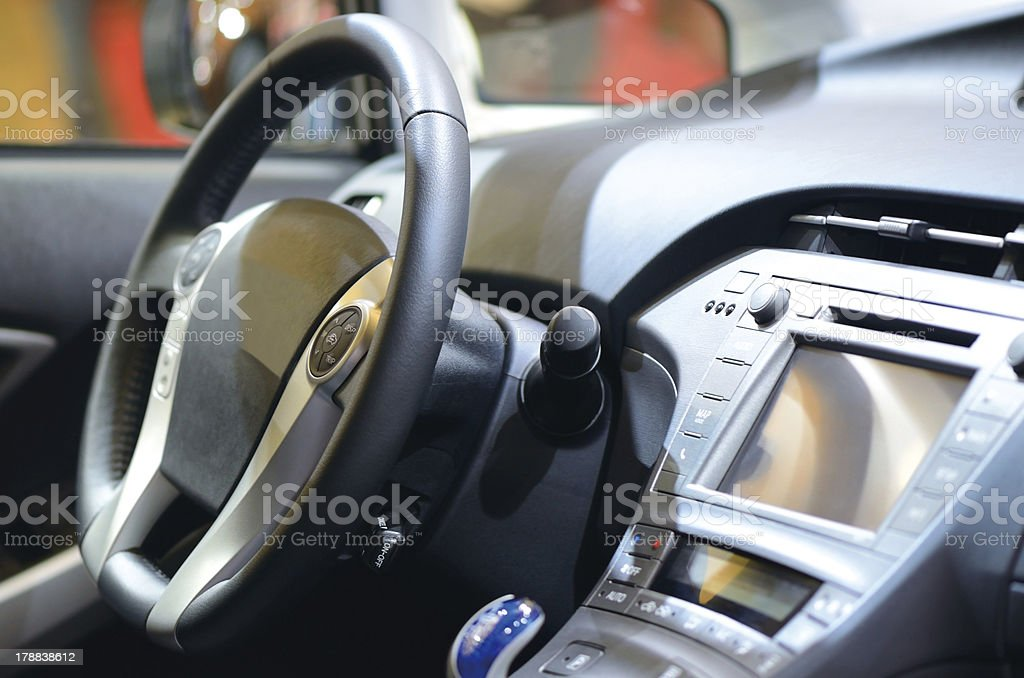 Inside of leather car stock photo
