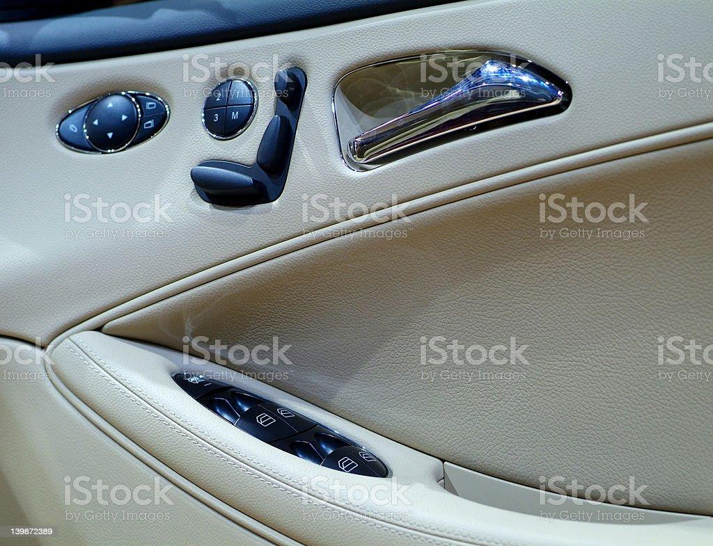 Inside of luxury car door royalty-free stock photo
