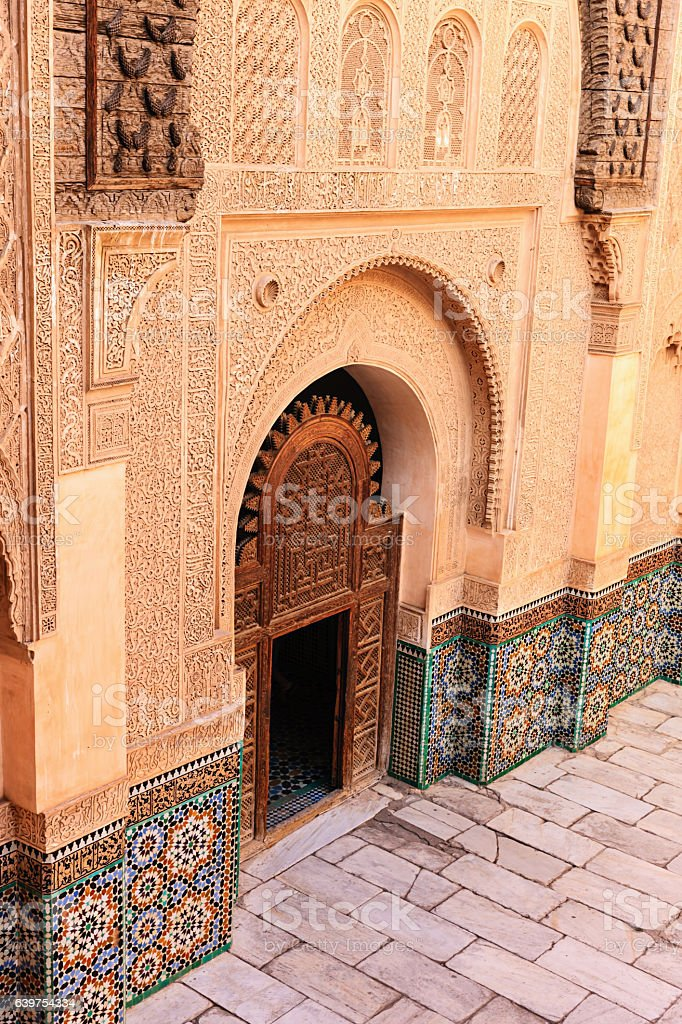 Inside of Madressa Ali Ben Youssef Marrakech Morocco stock photo
